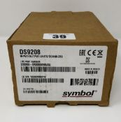 A boxed as new Symbol DS9208-SR00004NNWW Barcode Scanner (Box and inner packaging opened).