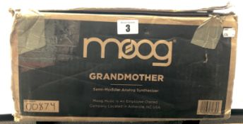 A boxed as new Moog Grandmother Analog Semi-Modular Synthesizer (Box open, some cosmetic damage to
