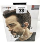 A boxed as new pair of AfterShokz Air Trekz AS650 Wireless Bone Conduction Headphones in Slate