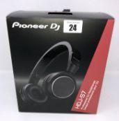 A boxed as new pair of Pioneer HDJ-S7 Professional On-Ear DJ Headphones in Black (Box opened).