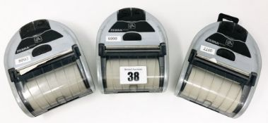 Three pre-owned Zebra iMZ320 Mobile Printers (Untested, sold as seen).