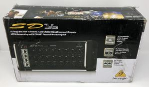 A boxed as new Behringer SD16 I/O Digital Stage Box with 16 pre-amps and 8 outputs (Box opened, some