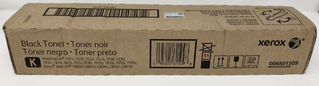 Nine boxed as new Xerox 006R01509 Black Toner Cartridges (boxes sealed).