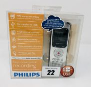 A boxed as new Philips DVT2000 Voice Tracer Stereo 4GB Digital Recorder .