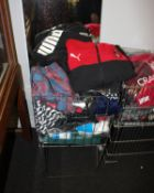 One basket full of miscellaneous sportswear to include Puma, Nike and Under Armour.