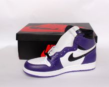 One pair of boxed as new Nike Air Jordan 1 Retro High OG in purple/black/white (UK 7.5).