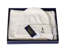 One boxed as new Polo Ralph Lauren Hat & Scarf set in white (One size).