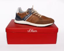 Three pairs of men's boxed as new S.Oliver sneakers in cognac 5-13611-24 305 (EU 43).