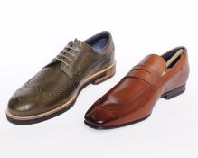 Two pairs of men's boxed as new Ted Baker shoes to include Dylunn classic leather brogues in khaki