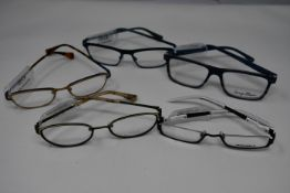 Five pairs of as new glasses frames with clear glass to include Yous, Serge Blanco and Humphrey's (
