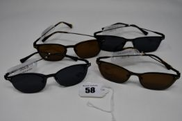 Four pairs of as new Convertibles glasses frames with clear glass and magnetic sunglasses clip (
