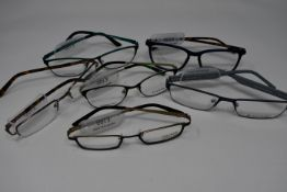 Six pairs of as new glasses frames with clear glass to include Orange, Charles Stone, Vulkan,