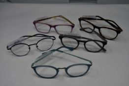 Five pairs of as new glasses frames with clear glass to include Yous, Serge Blanco and Vulkan (