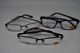 Seven pairs of as new Caterpillar glasses frames with clear glass to include CTO Foreman, CTO