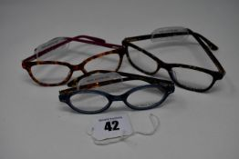 Three pairs of as new Little Paul & Joe glasses frames with clear glass (RRP £150 each).