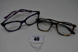 Two pairs of as new Little Paul & Joe glasses frames with clear glass (RRP £180 each).