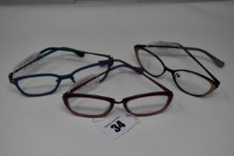 Three pairs of as new You's glass frames with clear glass (RRP £120-£130 each).