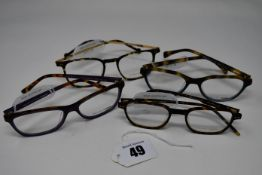 Four pairs of as new William Morris glasses frames with clear glass (RRP £170).