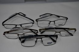 Five pairs of as new Wolf glasses frames with clear glass (RRP £140 each).