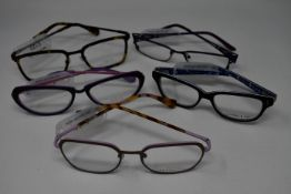 Five pairs of as new glasses frames with clear glass to include Yous, Paul & Joe and Maggy Rouff (