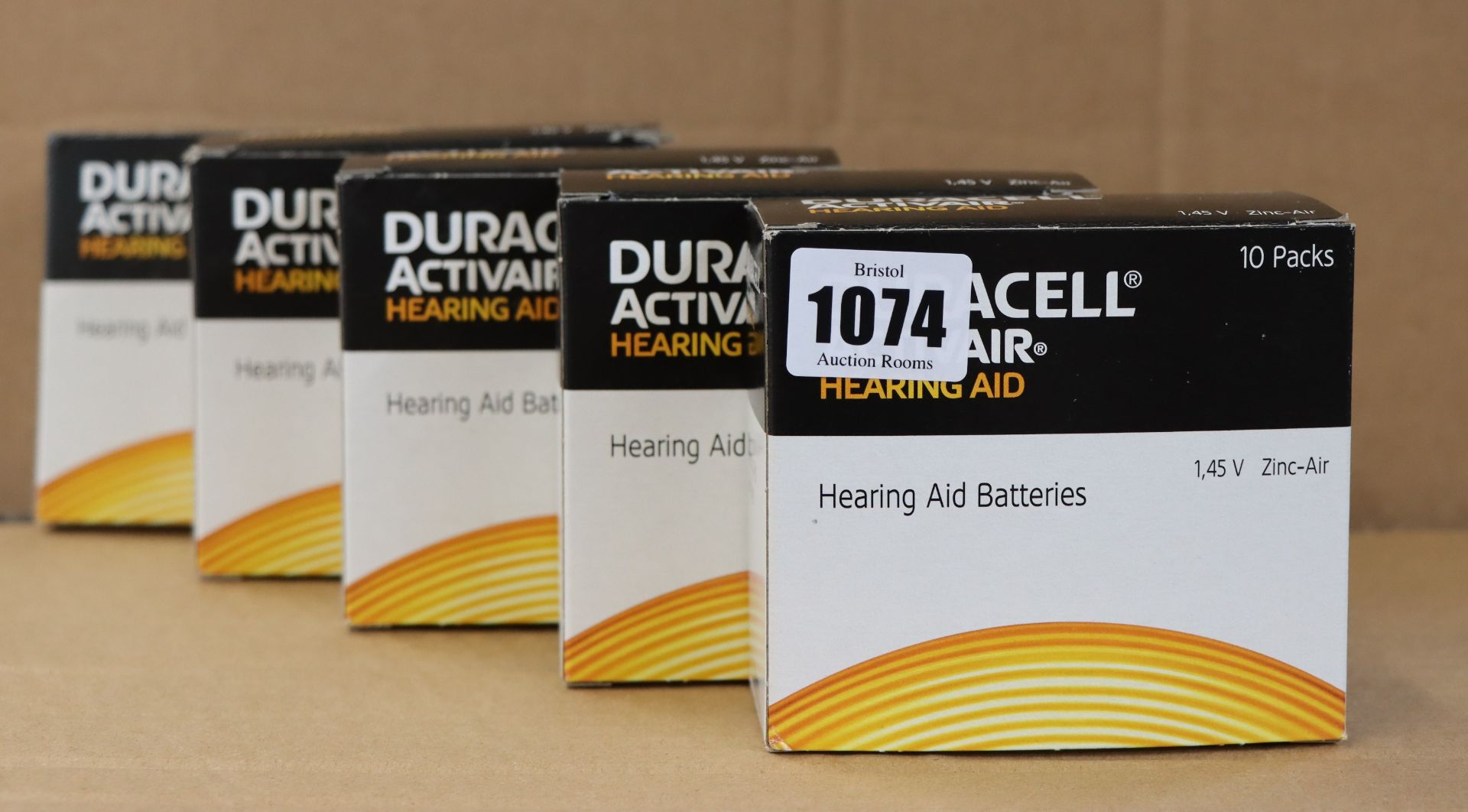 Lot 1074 - Five boxes of 60 as new Duracell Activair hearing aid batteries (Size 10).