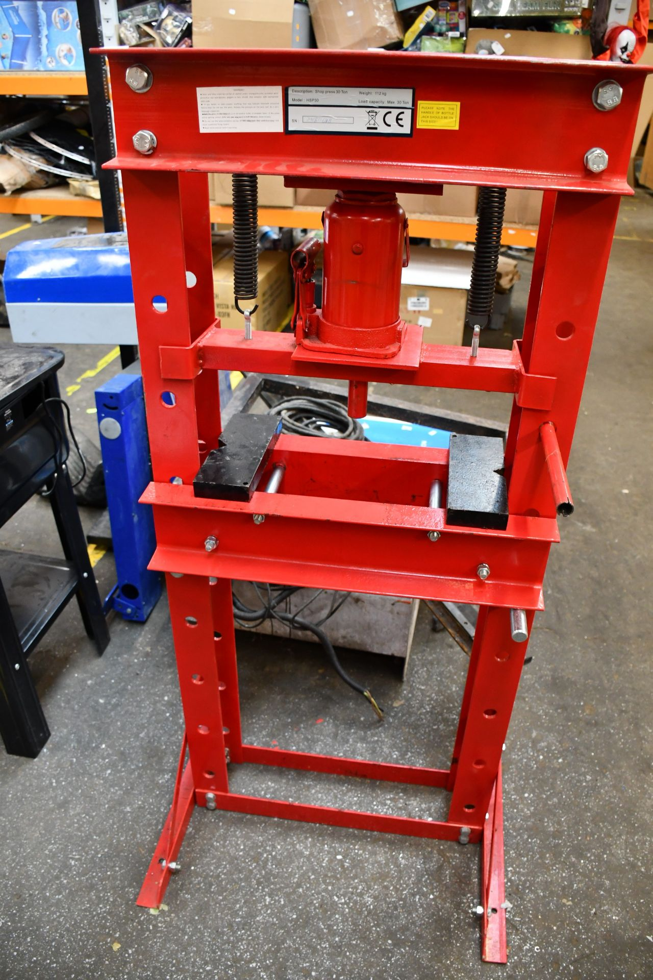 Lot 1257 - A pre-owned thirty ton hydraulic shop press HSP30.