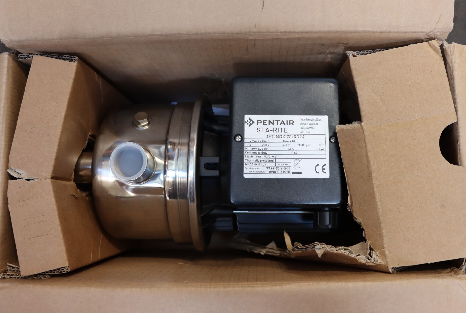 Lot 730 - One boxed as new Pentair STA RITE JETINOX 70/50 M stainless steel self priming pump.
