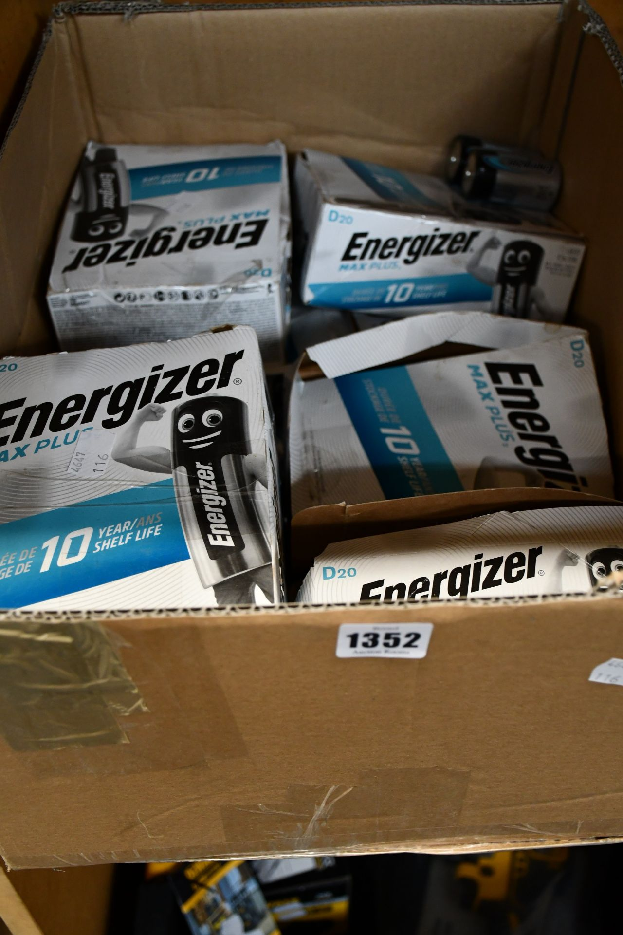 Lot 1352 - A quantity of as new Energizer Max Plus D cell 1.5v alkaline batteries (Approximately 120).
