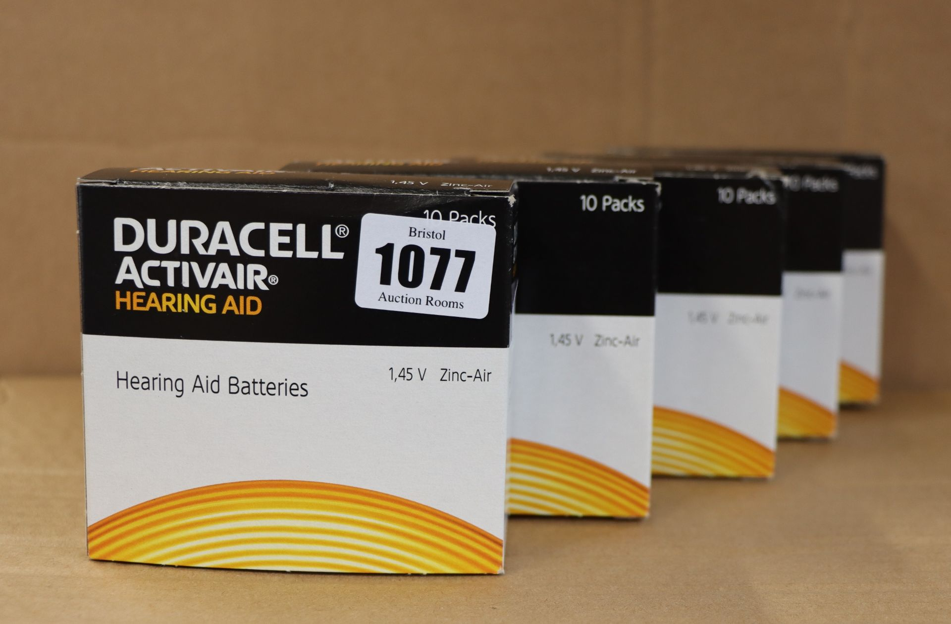 Lot 1077 - Five boxes of 60 as new Duracell Activair hearing aid batteries (Size 10).