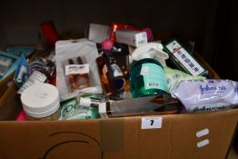 One box of miscellaneous as new toiletries, fragrances, cosmetics and related items.