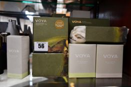 A quantity of boxed as new Voya toiletries and scented candles/reed diffusers to include two