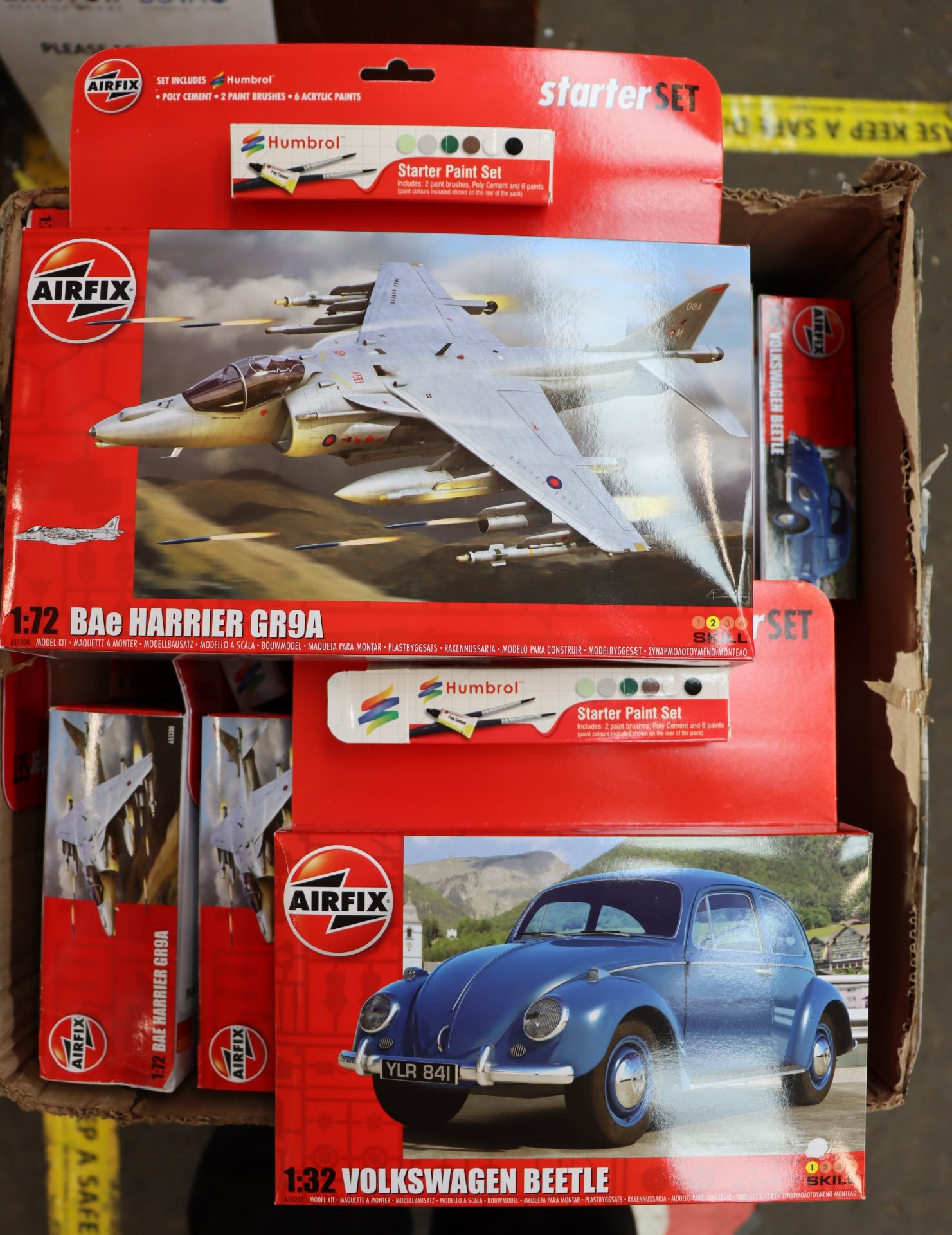 Lot 772 - Eleven boxed as new Airfix kits to include Bae Harriers GR94 1:72 and Volkswagen Beetle 1:32.