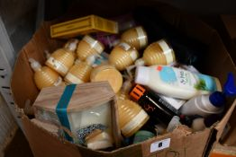 One box of miscellaneous as new toiletries, cosmetics and related items.