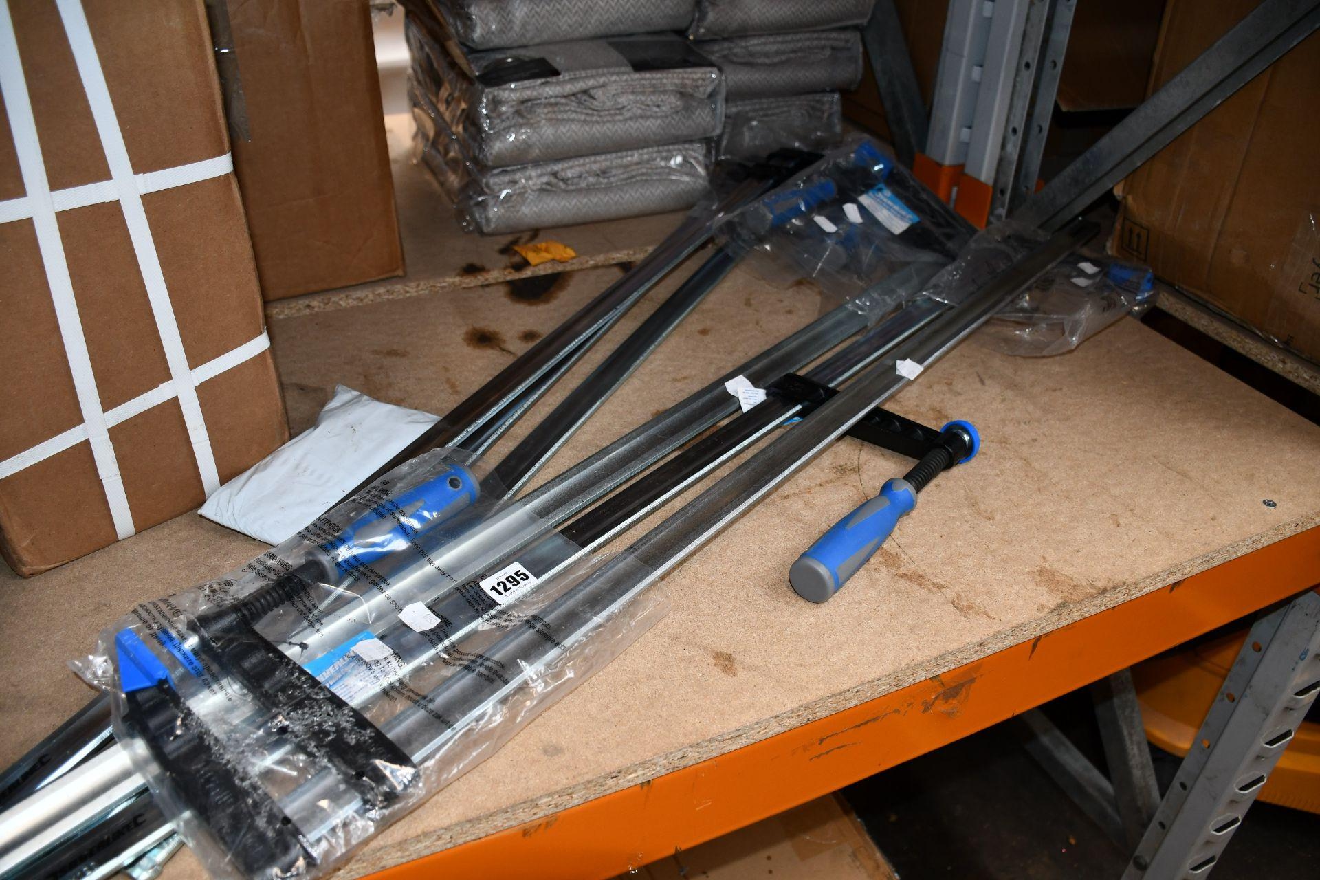 Lot 1295 - Six as new Silverline 598414 F-clamp (Heavy duty, deep capacity 1000 X 120mm).