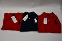Two as new Ralph Lauren red children's long sleeved polo tops (Size 6) and one as new children's