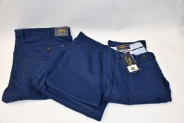Three pairs of as new Ralph Lauren Polo stretch slim fit men's classic Blue chino style trousers (