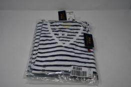 Four as new Ralph Lauren Polo classic blue and white striped short sleeve v neck ladies T-shirts (