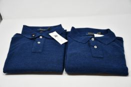 Two as new Ralph Lauren polo slim fit long sleeved classics blue polo top (2 x XL).