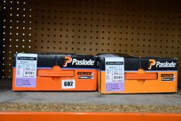 Two boxed Paslode Series-i roundrive nail packs to include one Paslode series i roundrive (size: 2,