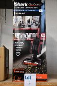 One boxed Shark Duo Clean cordless upright vacuum cleaner.