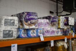 A quantity of toilet rolls and kitchen roll.