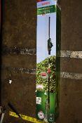 A Bosch universal cordless hedge pole 18 trimmer (Damaged box).