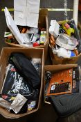 Four boxes of miscellaneous items to include one Tower knife sharpener, one Ever build silicone