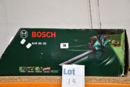 One boxed Bosch AHS 60-26 electric corded hedge trimmer.