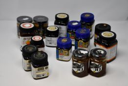 A quantity of assorted Manuka Honey to include Manuka Doctor 70MGO (500g), ManukaPharm 70MGO (