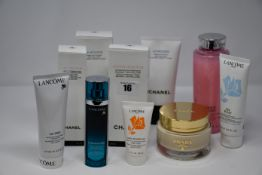 A quantity of Chanel and Lancome products to include two La Mousse cleansing cream to foam (150ml)
