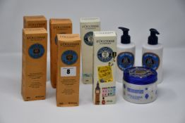 Nine as new L'Occitane creams and lotions: three shea butter hand cream (150ml), one shea butter