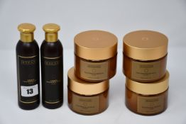 Four as new Sakare deep cleansing salt scrub (350ml) and two Sakare indulging hand & body lotion (