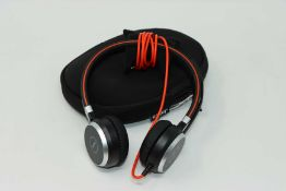 A pre owned Jabra Evolve 40 UC Stereo On-Ear Headset w/ 3.5mm Jack, USB Controller and Case.