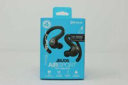 A pair of boxed as new JLAB Jbud AIRSport True Wireless Sweatproof Custom EQ3 Sound Bluetooth
